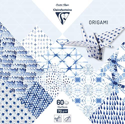 Clairefontaine 95349C Pack mit 60 Bögen Origamipapier (70 g, 15 x 15 cm, Shibori) 1 Pack