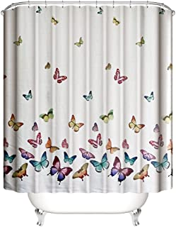 Muuyi Spring Summer Butterflies Shower Curtain Set, Polyester Fabric Waterproof Shower Curtains for Bathroom with 12 Ring Hooks - 72×72 Inch