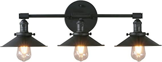 Phansthy Vanity Lights 3 Lights Wall Sconce with 7.87 Inches Metal Lamp Shade (Matte Black)