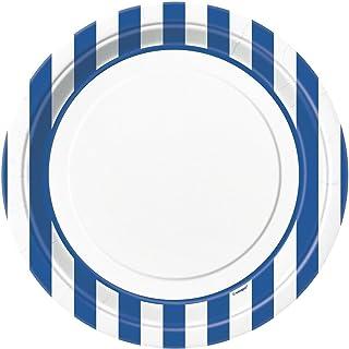 "Royal Blue Striped Plates 9"""
