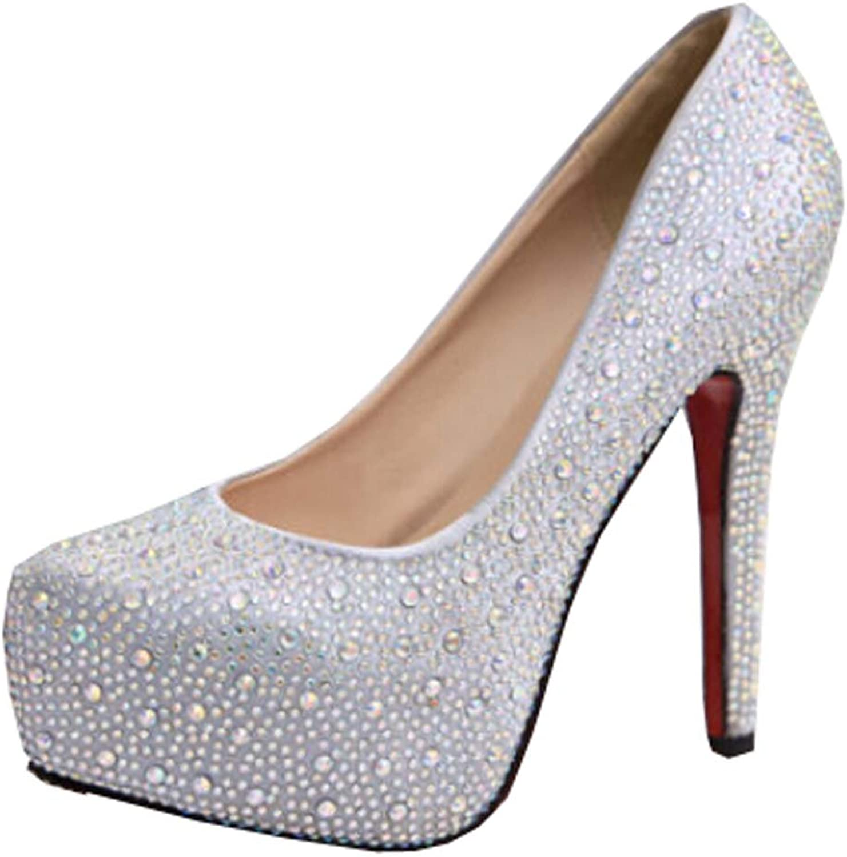 Women high heels wedding party shoes silver glitter crystal rhinestone thin heels