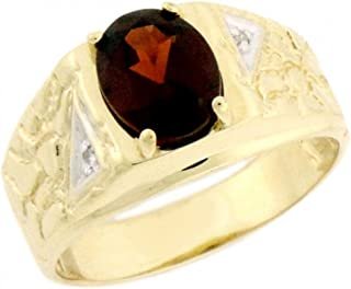 Jewelry Liquidation 14k Solid Yellow Gold Garnet 0.04cttw Diamond Mens Ring