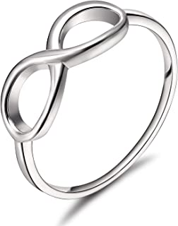 925 Sterling Silver Ring Infinity Knot Rings Eternity Wedding Band Size 4-11