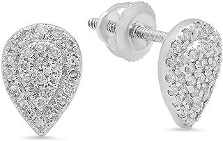 Dazzlingrock Collection 0.25 Carat (ctw) 10K Round White Diamond Ladies Teardrop Cluster Stud Earrings 1/4 CT, White Gold