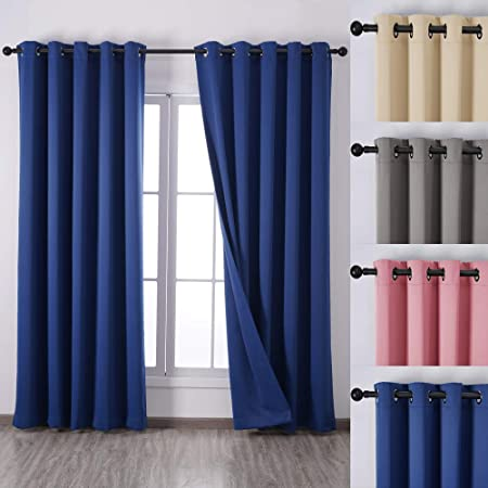 Qinuo Home Alaska Three Pass Microfiber Thermal Insulated Solid Grommet Curtains Blackout Window Treatments Curtains For Patio With Two Free Tiebacks 2 Panels 90 54 Navy Blue Amazon Co Uk Kitchen Home