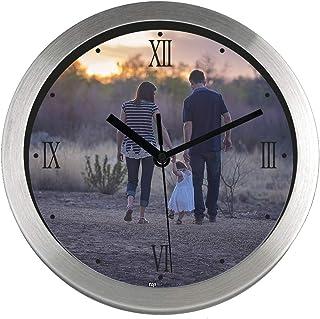 Promo Shop Gran Reloj de Pared Personalizado con fotografía o Logotipo. Acabado en Aluminio Cepillado