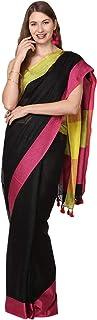 Black Orange Women's Linen Saree (BO.SR002_Multicolored)