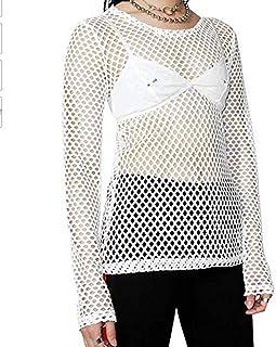 4eaa31d2799ae Greetuny Haut Femme Sexy à Manches Longues en Maille Fishnet en Résille  T-Shirt Chemise
