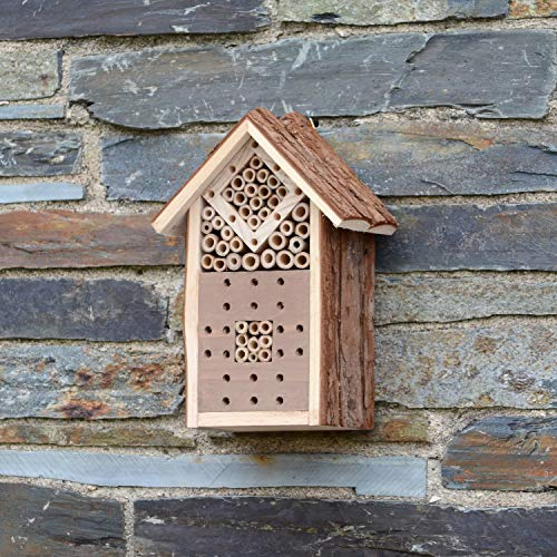 CKB LTD Small Natural Wood Bark Insect Bug Hotel - For Bees ladybirds House Wooden Outside Shelter Garden Nest Garden Home Outdoor Habitat House - Small 16 x 9 x 23cm