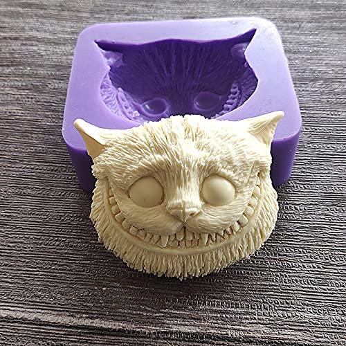 HAOBU Moldes Silicona reposteria Gato de Pelo Corto en Forma de Molde de Silicona Molde de Chocolate Fondant Herramienta de decoración de Pastel de Bricolaje Molde de Galleta
