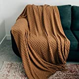 Graced Soft Luxuries Throw Blanket Textured Soft for Sofa Couch Decorative Knitted Acrylic Fringe Blanket (Cashew, Extra Large 60' x 80')
