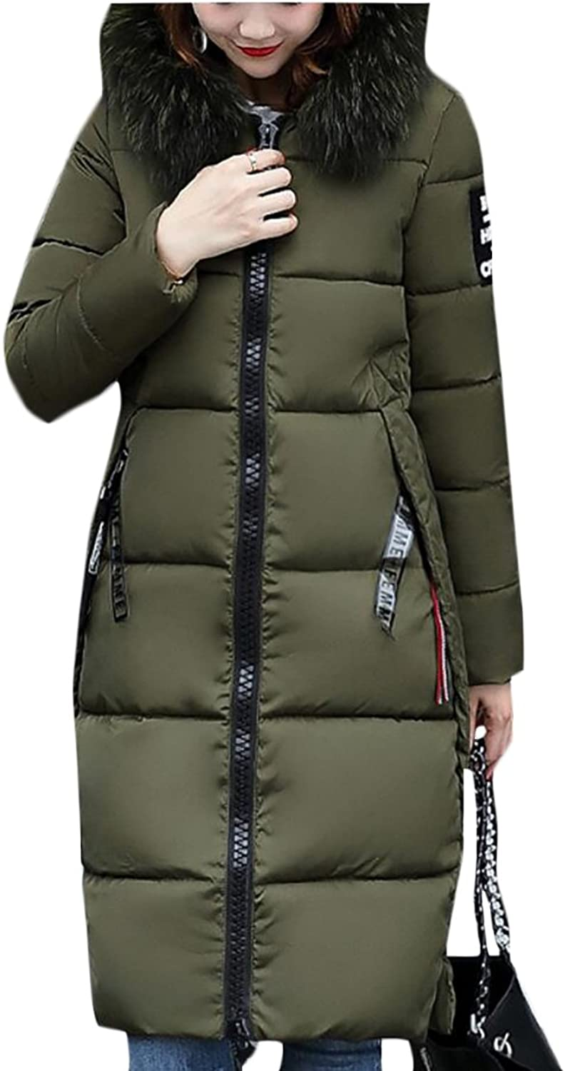 Desolateness Women's Long Sleeve Down Jacket With Faux Fur Trim Hood