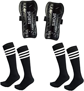 Chenyee Youth Shin Guards for Kids Soccer Protective Gear Pad Knee High Socks Sleeve Football Shinguard Protector Equipment Fit 5-12 Years Old Boys Girls Teenager Child Sports Elastic Band