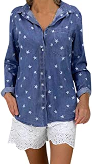 Vicbovo Clearance Womens Button Down Denim Shirt, Casual Long Sleeve Printed Star Slim Fit Tee Shirt Blouse Jeans Tunic Top