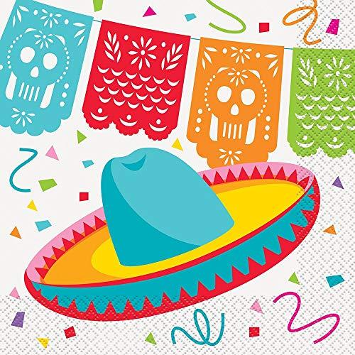 Papierservietten - 16,5 cm - Mexikanische Fiesta-Thema - Packung mit 16 Stück