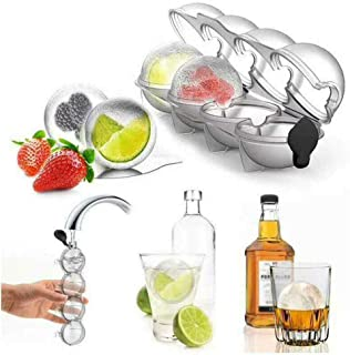 2Pcs Ice Cube Molds & Trays - 2.2 Bar Ice Cube 4 Ball Maker Mold Sphere Large Tray Whiskey DIY Mould - Round Tray Silicone Bar Cocktails Summer Tools 1Pcs/Set