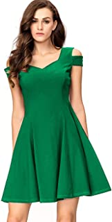 6053f4b64c0144 InsNova Women s Cold Shoulder Little Cocktail Party A-line Skater Dress