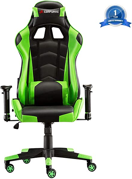 JL Comfurni Gaming Chair Racing Style Ergonomic Swivel Computer Office Desk Chairs Adjustable Height Reclining High Back With Lumbar Cushion Headrest Executive Leather Task Chair Green