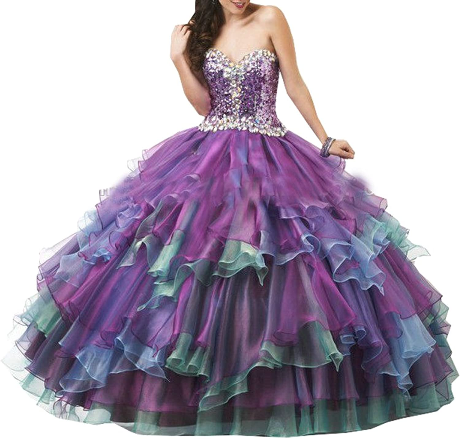 Lavaring Women's Sweetheart Crystal Organza Laceup Backless Ruffle Ball Gown