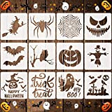12 Pieces Halloween Stencils Reusable Plastic Halloween Theme Drawing Stencils for Painting on Wood Walls Fabrics Window, 7.9 Inches