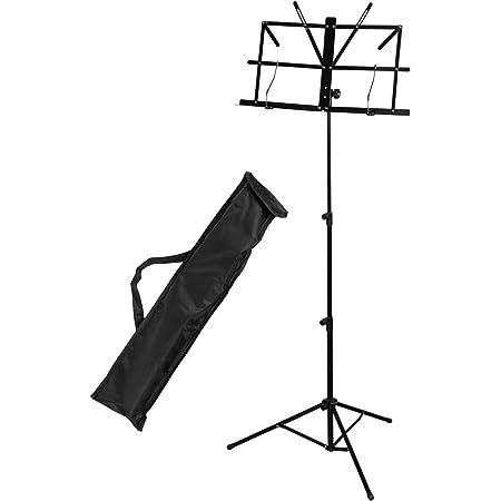CASCHA Pupitre avec sac pour enfants et adultes I pupitre métal noir I pupitre pliable stable avec pinces pour partitions stand réglable en hauteur HH 2067