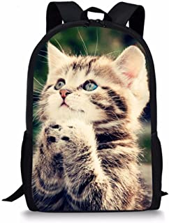 Cute Kids School Bag Shoulder Bookbag Cat Printing Backpack for Teen Boys Girls