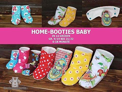 Home-Booties BABY Hausschuhe in 14 Größen E-Book 0 bis 18 Monate Nähanleitung mit Schnitt [Download]
