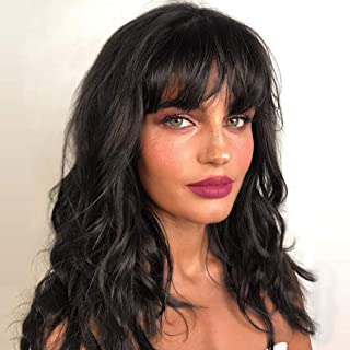 WIGNEE Natural Wave Wigs with Bangs 100% Brazilian Human Hair Fashion Wave Wigs Natural Black (14 Inch)