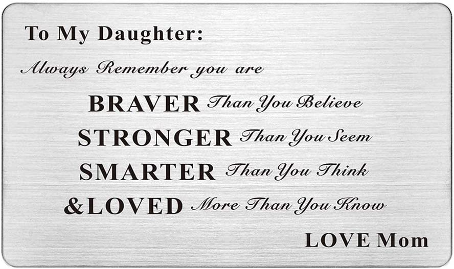 Laser Engraved Stainless Steel Wallet Card Love Note Insert Card Gift for Daughter from Mom(To My Daughter Love Mom)
