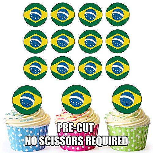 Brazilië Vlag - 24 Eetbare Cupcake Toppers/Verjaardag Cake Decoraties - Easy Precut Circles