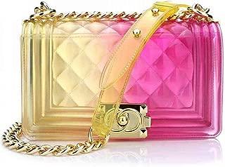 Women Transparent Jelly Messenger Bag Gradient Candy Color Clutch Purses Shoulder Handbags Crossbody Bag with Chain