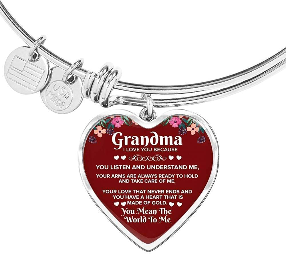 Grandma I Love You Because Al sold out. Stainless Ban Heart or Steel Store Gold 18k