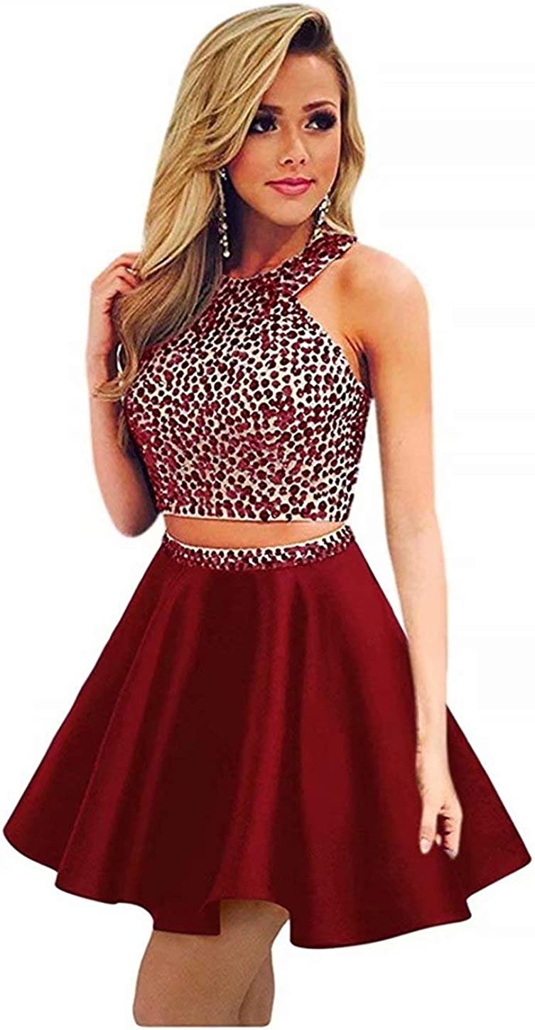 EEFZL Beaded Two Pieces Homecoming Dress for Juniors Short Cocktail Prom Sweet 16 Gown