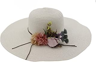 Sun Hat for men and women Summer Women's Beach Hat Ladies Casual Panama Hat Ladies Classic Flower Straw Hat Flat