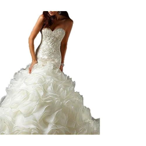 b0993ee098 Tsbridal Mermaid Wedding Dress Beaded Sweetheart Bride Dresses