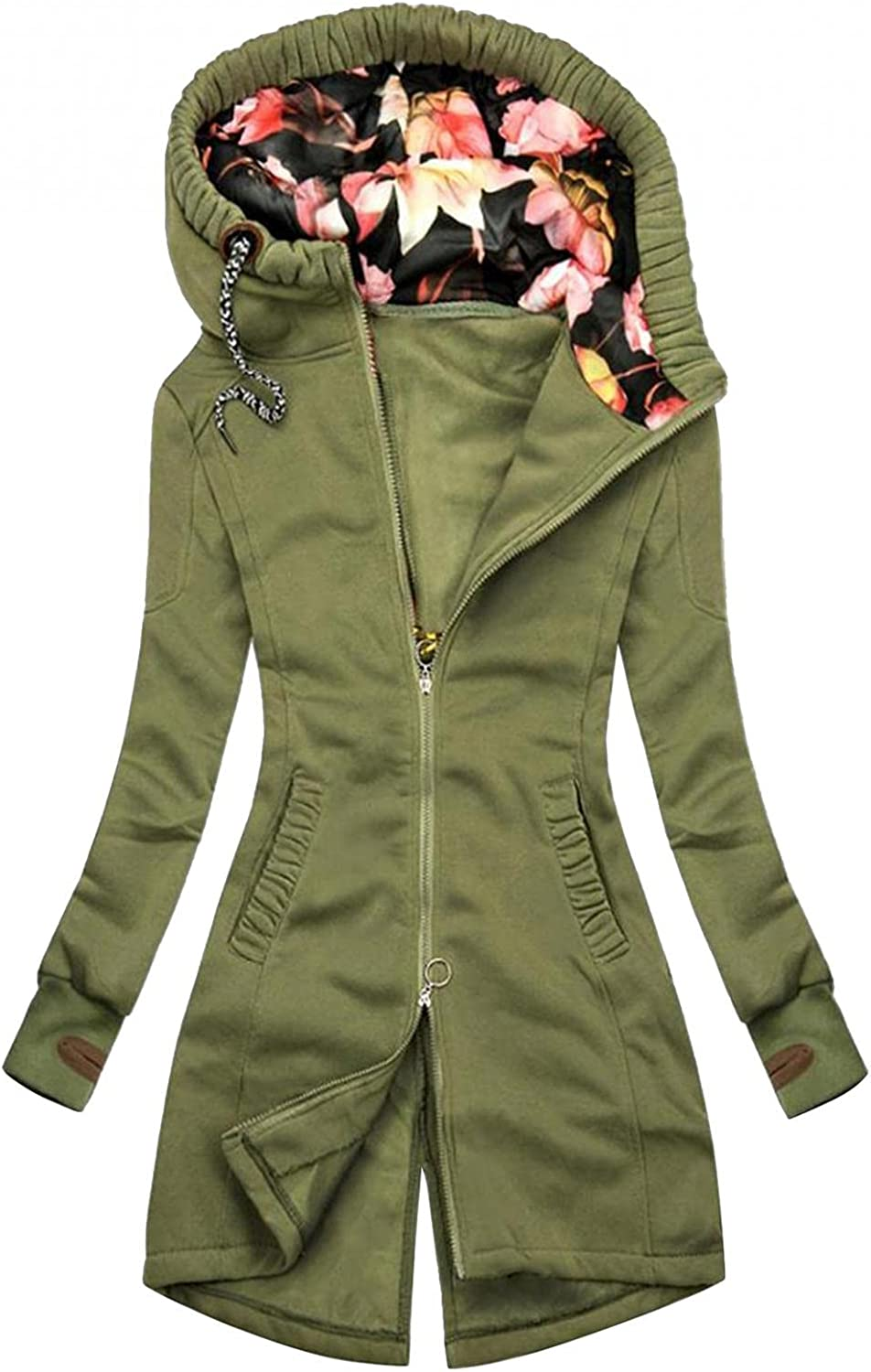 Women's Casual Zip Up Jacket Floral Print Hoodie Pockets Sweatshirt Long Sleeve Outerwear Plus Size Trench Raincoat
