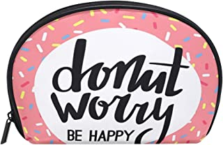 ALAZA Donut Worry Be Happy Half Moon Cosmetic Makeup Toiletry Bag Pouch Travel Handy Purse Organizer Bag for Women Girls