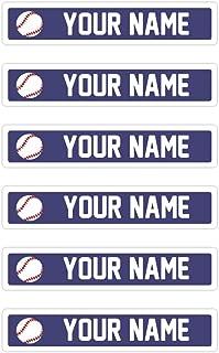 Kids Labels Peel & Stick Waterproof, Durable Personalized Name Labels - 80 Skinny Labels Baseball Design