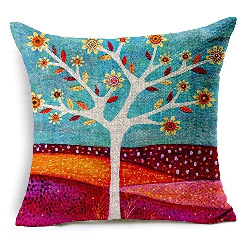 loQuenn - Fodera per cuscino 'buttalà' in tela di cotone, motivo: albero vintage, con cerniera lampo flower*1