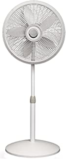 Lasko 1820 18″ Elegance & Performance Adjustable Pedestal Fan, White - Features Oscillating Movement Tilt-back Fan Head