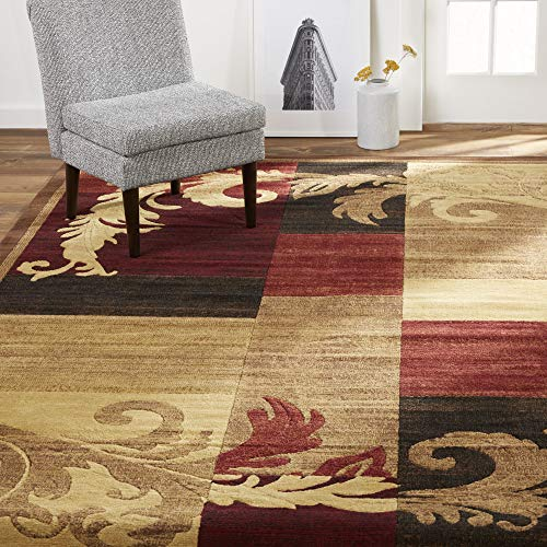 "Home Dynamix Catalina Pierre | Formal Dining Room Rug | Geometric Paterns with Floral Accents | Brown and Red 5'3""x7'2"""