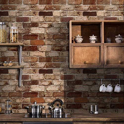 Okydoky Peel and Stick Wallpaper, Brick Wallpaper for Home Decoration, Kitchen Wallpaper Stick and Peel Backsplash, Vinyl Self Adhesive Wallpaper for House, Workshop & Office, 17.7' x 78.7', C103-2