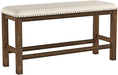 Signature Design by Ashley Morriville Counter Height Upholstered Dining Room Bench, Brown