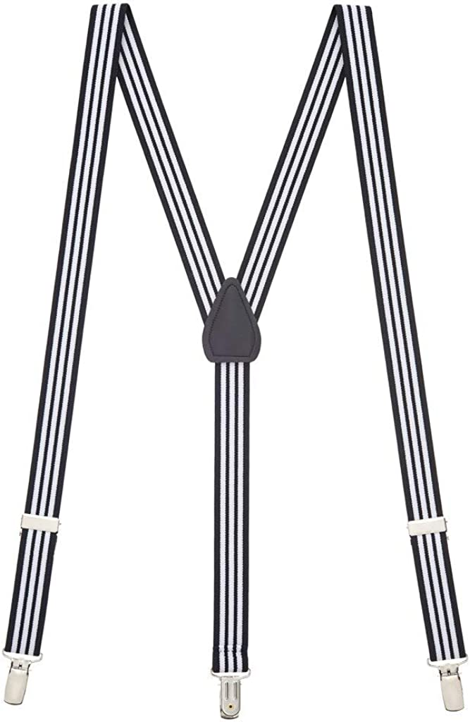 SuspenderStore Men's Black & White Striped Novelty Clip-End Suspenders