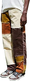 Men's Straight Leg Jeans, Trendy Frayed Patchwork Color Block Relaxed Fit Denim Pants