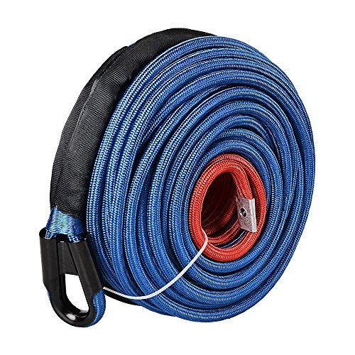 Blue 22000LBS Synthetic Winch Rope Line Cable All Rock Guard Protective Sleeves 95' x 3/8' for Jeep ATV UTV 4X4 Off-Road Vehicles