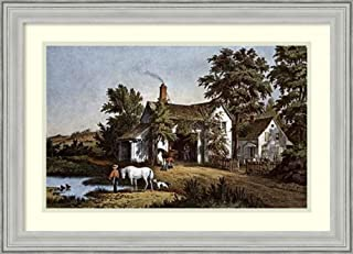 Framed Wall Art Print Village Blacksmith by Currier and Ives 26.75 x 19.38