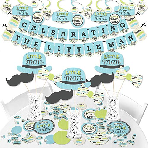 Big Dot of Happiness Dashing Little Man Mustache Party - Baby Shower or Birthday Party Supplies - Banner Decoration Kit - Fundle Bundle