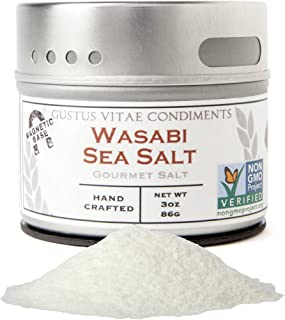 Wasabi Sea Salt - Gourmet Infused Sea Salt - Artisan Seasoning - Non GMO Verified - Magnetic Tin - 3oz - Crafted in Small Batches by Gustus Vitae | #11