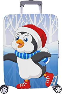 Cute Cartoon Penguin Doing Ice Skating In The Ice Pattern Spandex Trolley Case Travel Luggage Protector Suitcase Cover 28.5 X 20.5 Inch